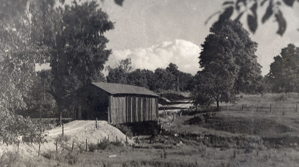 Old photo of wood bridge at Gould, Ohio.